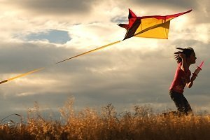woman with kite